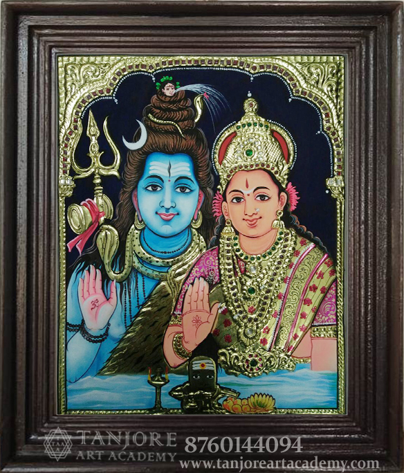 shiavn parvathi highly embossed painting online