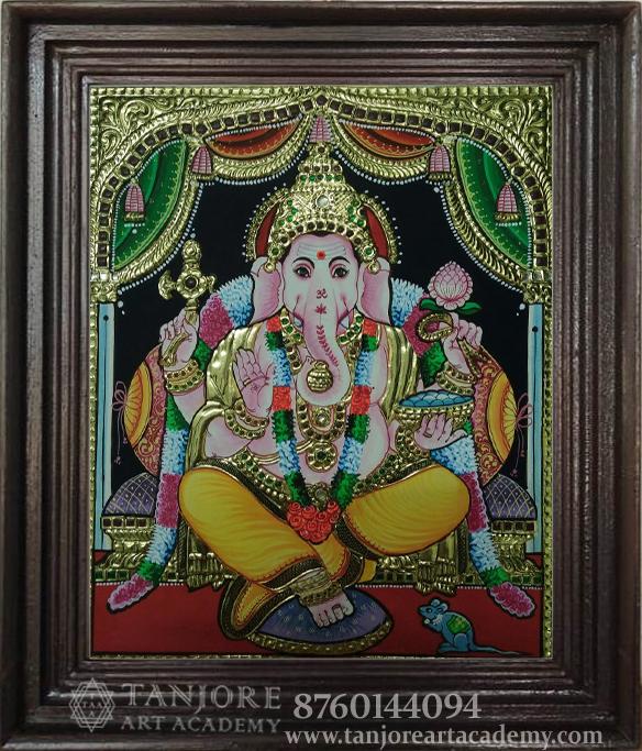 Ganesh golden high embossed thanjavur painting online