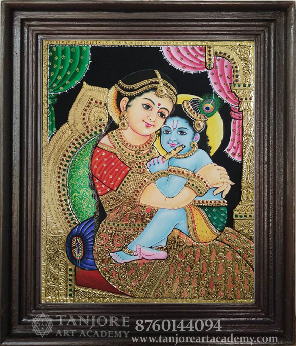 high embossed little krishna with yoshadha thanjavur painting