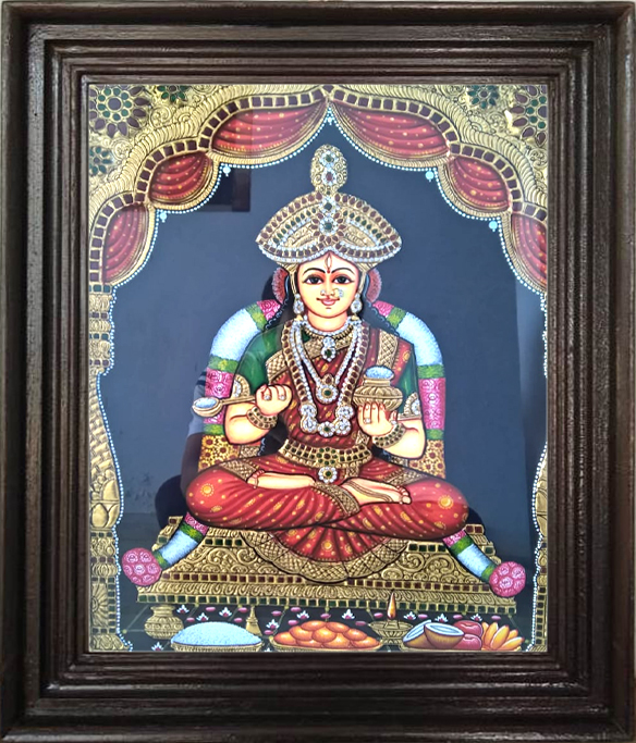 High embossed AnnaPoorani Tanjore painting