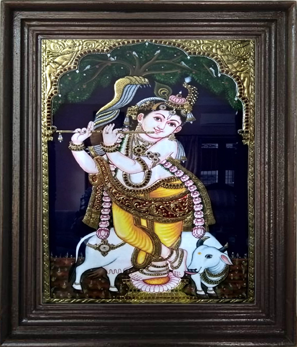 Krishna with Flute Thanjavur painting online