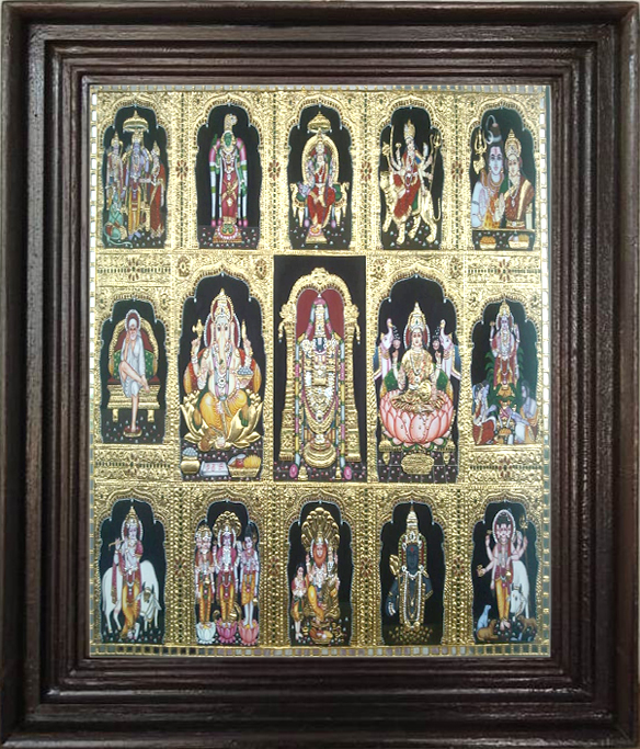 Hindu Gods in Thanjavur painting online