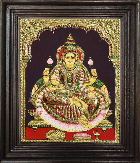 high embossed Mahalakshmi Tanjore art paintings