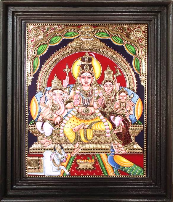 Siva parvathi Vinayagar Murugan -Tanjore paintings online