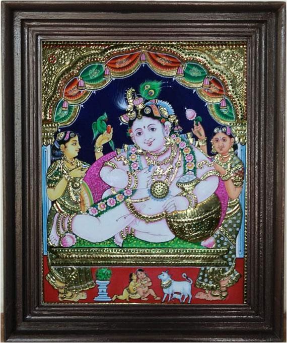 Baby-krishnar-Tanjore-Art