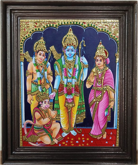 Raman-Seetha Lakshman & Anjanayar -Tanjore-Ar